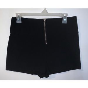 High Waisted Zipper Shorts